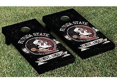 Show off your Florida State University spirit with this Victory Tailgate FSU Noles Cornhole Game Set. Set includes 2 high quality cornhole boards with folding legs