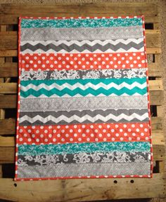 Coral grey and teal chevron baby quilt by Nooches on Etsy, $80.00