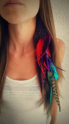 Long Feather Hair Extension Feather Hair by dieselboutique on Etsy