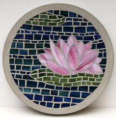 MADE TO ORDER - Pink Lotus Flower  300mm Glass Mosaic Concrete Stepping Stone