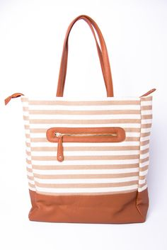 striped tote.