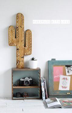 dodatki - dekoracje - inne-Drewniany Boho Kaktus