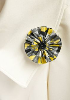 Yellow and Black Fabric Flower Clip by TheLavenderLounge on Etsy, $4.00