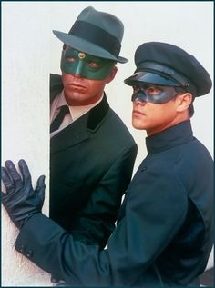 "Van Williams (as the Green Hornet) and Bruce Lee (as Kato) in the TV series ""The Green Hornet"""