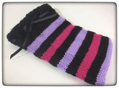 SALE Tablet cosy, knitted cosy, iPad, iPad mini,  vegan, striped, pink, lilac, black, satin ribbon finish by BaaLessKnits on Etsy https://www.etsy.com/uk/listing/504872091/sale-tablet-cosy-knitted-cosy-ipad-ipad
