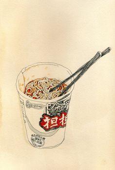 "iluvbrucewillis: ""Juriko Kosaka - Food illustration "" Iconic elements of Pearson culture? Illustration Sketches, Food Illustrations, Art Sketches, Japanese Illustration, Food Drawing, Painting & Drawing, Poster Art, Food Painting, Oeuvre D'art"