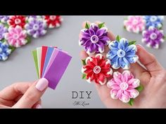 How To Make Paper Flowers, Paper Flowers Diy, Handmade Flowers, Flower Crafts, Fabric Flowers, Ribbon Embroidery Tutorial, Floral Embroidery Patterns, Hand Embroidery Designs, Diy Hair Bows