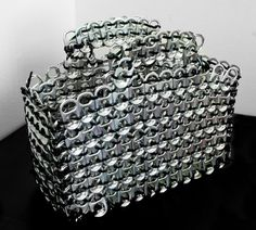 Items similar to Silver Pop-Tab Purse on Etsy Can Tab Crafts, Soda Can Crafts, Pop Tab Purse, Pop Can Tabs, Soda Tabs, Recycle Cans, Pop Cans, Do It Yourself Crafts, Diy Home Crafts