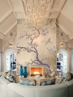 not usually a fan of murals, but this one works (via Amber Interior Design)