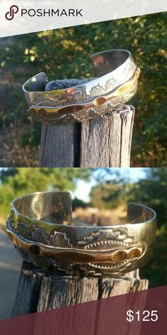 Navajo Silver Cuff Bracelet Sterling Silver Bracelet with copper inlay Navajo Jewelry Bracelets