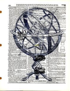 Abstract Globe   Vintage Dictionary Book Page by KFLGetsHerFunkOn