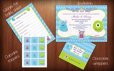 Monsters Inc. Baby Shower BUNDLE Ready to by GloryBeDigitalDesign, $25.50