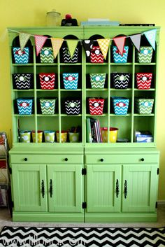 "Craft Room Hutch - So organized and colorful! Can use this for antique hutch that's in ""bar area"".... of course, NO painting!!"