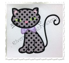 Black Cat Applique Machine Embroidery by RivermillEmbroidery