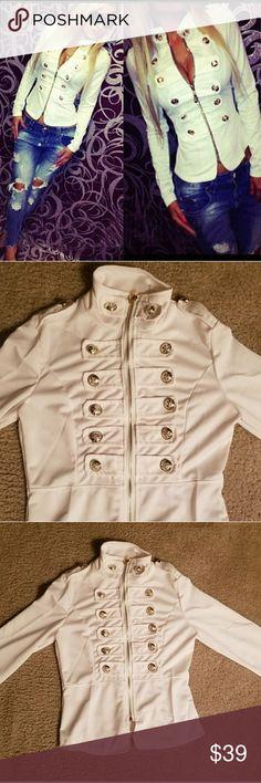 White Beige Top Jacket Whitish Beige Cream Jacket, size small. Jackets & Coats