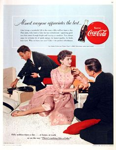 1955 Coca Cola original vintage advertisement. Fifty million times a day... at home, at work or on the way, there's nothing like a Coke!