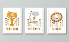 Nursery art boy baby boys print set lion nursery by BubbleGumYears, £23.99