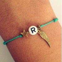 Armbandje Letter - Turquoise & Goud
