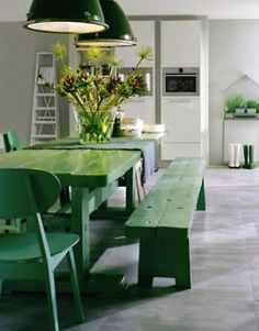Rustic green table and chairs