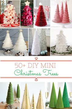 50 Easy DIY Mini Christmas Trees These DIY Mini Christmas Trees are easy, inexpensive and fun to make. Add a little holiday cheer to your home with these festive tabletop Christmas tree decorations! Cone Christmas Trees, Christmas Tree Crafts, Noel Christmas, Xmas Tree, Christmas Projects, Simple Christmas, Holiday Crafts, Christmas Ornaments, Christmas Cactus