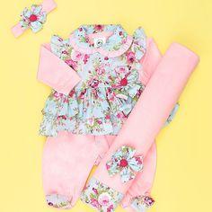 Saída de Maternidade Valentina Rosa Floral Azul Bebê Menina 04 Peças
