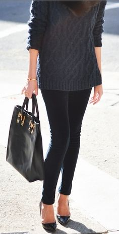gray sweater, black jeans, tote