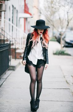 Le Happy wearing Boda Skins jacket with lace shorts and Steve Madden sandals
