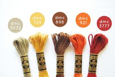 DMC embroidery thread color combos for Fall Celebrate Color! Leaves On The Sidewalk