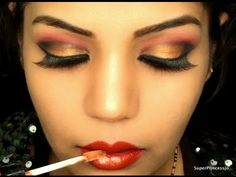 INDIAN BRIDAL WEDDING MAKEUP RED AND GOLD BOLLYWOOD EYE MAKEUP FOR INDIAN SKIN TONE