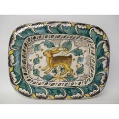 """Tuscan Montelupo 13X10"""" Rectangular Serving Platter with hare"""