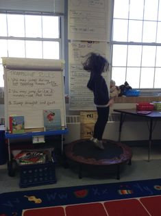We got a trampoline in our classroom last week. It makes me smile to see jumpers in action! Read rules on chart paper! Yes!!!