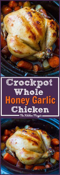 Crockpot Honey Garlic Whole Chicken & Vegetables! Roast a whole chicken in your crockpot with a delicious honey garlic sauce & vegetables for the perfect easy dinner!! Recipe from @kitchenmagpie #dinner #chicken #crockpot #slowcooker #recipe #recipes #honeygarlic
