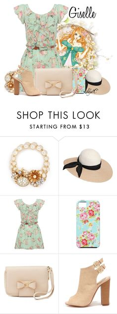 """""""Giselle - Spring - Disney's Enchanted"""" by rubytyra ❤ liked on Polyvore featuring Miriam Haskell, Eugenia Kim, Charlotte Russe, Liliana, women's clothing, women's fashion, women, female, woman and misses"""