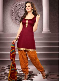 Incredible Maroon Cotton Punjabi Salwar Suit