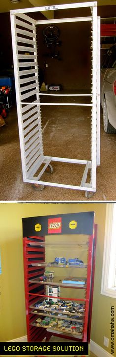 A LEGO storage made from a bun pan rack. Kids can stack their works in progress on a tray and slide them in the rack. http://hative.com/creative-lego-storage-ideas/