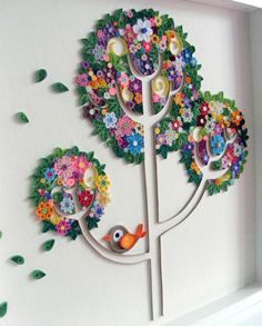 Framed quilling tree art (58 x 58 cm) by Qmono