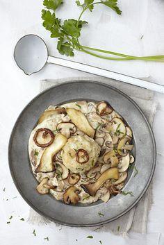 susanne schanz kropp's dumplings with mushroom sauce Mushroom Recipes, Vegetable Recipes, Vegetarian Recipes, Mushroom Sauce, Easy Cooking, Cooking Recipes, Austrian Recipes, Austrian Food, Bread Dumplings