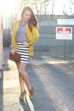 Chambray shirt, mustard boyfriend cardigan and H&M striped tunic worn as skirt