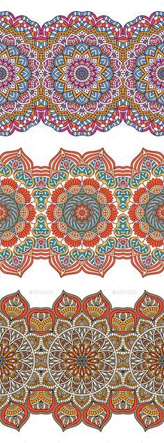 3 Seamless Patterns (Vector EPS, CS, african, arabic, asian, chinese, collection, decor, element, ethnic, graphic, henna, illustration, indian, islam, mandala, meditation, mexican, mosaic, motif, native, oriental, ornament, pattern, print, round, seamless, set, symmetry, vector, yoga)