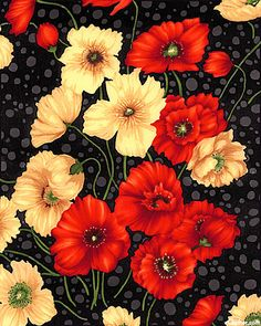 "Larger flowers are about 2 1/2"", from the 'Poppies' collection, designed for 'Exclusively Quilters' by Classic Cottons"