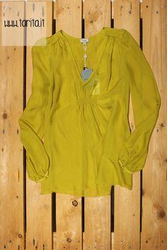 Tarita S/S 2013.   Hoss Intropia, lime silk blouse.
