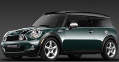 My car - Mini Cooper Clubman in British Racing Green, black roof, no racing stripes. His name is Fergus.