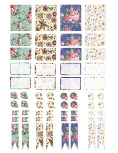 Printable Erin Condren Sticker Kit Floral Flowers Sunflowers Roses Teardrops Flags Boxes Print At Home Printable Sticker Set ECLP Planner