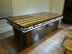 Idea for a beer pong table? how do they do the lights? Beer Table, Beer Pong Tables, Diy Table, Picnic Table, Pedestal Table Base, College House, Striped Table, Cool Tables, Elegant Table