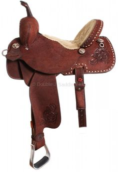 JJ Pro Barrel Racer, all rough out, squared skirt, cream buck stitching