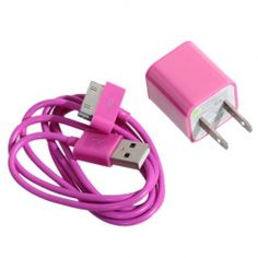 Super cute. Mini 2 in 1 Charger Kit (US Standard USB Power Adapter   USB Cable) for iPhone 4/4S/3GS/3G (Rose)