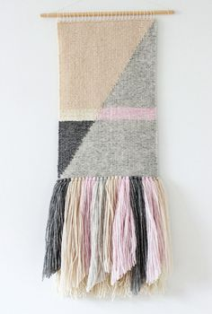 Woven wall hanging | Woven wall art | Wall tapestry | Wall weaving | Fiber art | Nursery wall decor | Ivory, grey, pink, wheat weaving