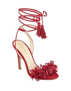 "<ul><li>Flirty frills in a suede lace-up style</li><li>Self-covered stiletto heel, 4""</li><li>Suede upper</li><li>Open toe</li><li>Lace-up style</li><li>Synthetic lining and sole</li><li>Imported</li></ul>"