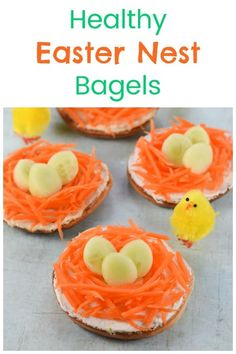 Quick and easy Easter nest bagels - a fu. - Quick and easy Easter nest bagels – a fun and healthy Easter food idea for kids - Easter Snacks, Easter Appetizers, Easter Lunch, Easter Treats, Easter Food, Easter Party, Special Recipes, Brunch, Cupcakes