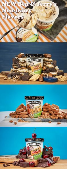 Ben & Jerry's New Non-Dairy Flavors - Vegan Cherry Garcia, Caramel Almond Brittle and Coconut Seven Layer Bar
